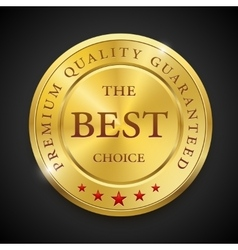 Best golden metal badges set Round gold medal or vector image