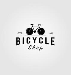 bicycle bike shop logo minimalist vintage icon vector image
