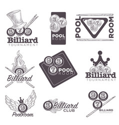 billiard or poolroom logo retro sketch for vector image