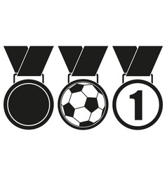 black and white award medal silhouette set vector image