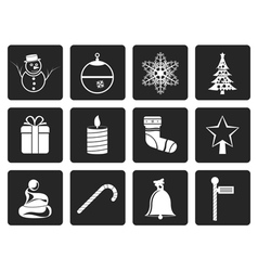 Black Beautiful Christmas And Winter Icons vector image