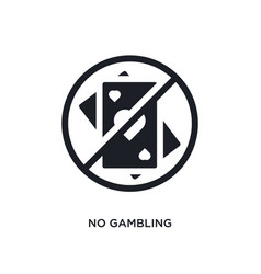 Black no gambling isolated icon simple element vector