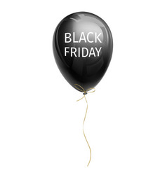 Black shiny inflated balloon with black friday vector
