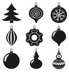 black white xmas tree decoration silhouette set vector image