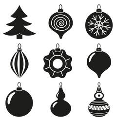 black white xmas tree decoration silhouette set vector image