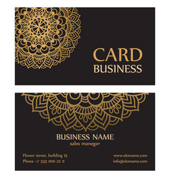 business card with circle gold ornaments vector image