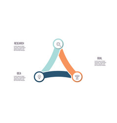 Business infographics chart with 3 parts steps vector