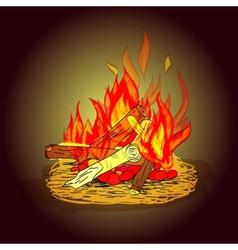 Camp fire sketch vector