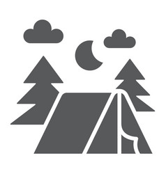 camping glyph icon nature and hiking camp sign vector image