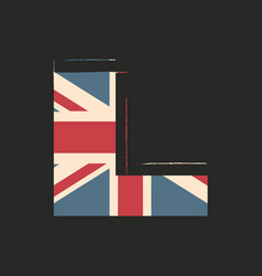 Capital 3d letter l with uk flag texture isolated vector
