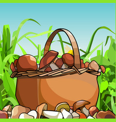 cartoon basket with mushrooms stands in grass vector image