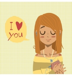 Cartoon flat I love you greeting card vector