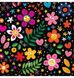 Cartoon flowers pattern vector