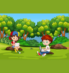 Children sitting with ipads and laptops vector