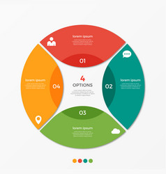 Circle chart infographic template with 4 options vector