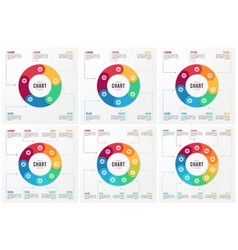 Circle chart infographic templates with 5 6 vector