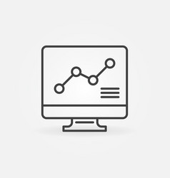 Computer with graph linear concept icon vector
