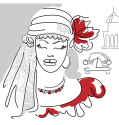 Cuban woman with red flower red bead and dress vector image