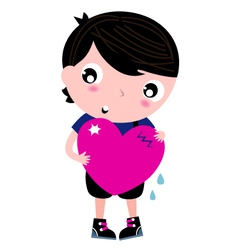 Cute Emo Boy holding heart isolated on white vector image