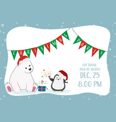 cute funny polar bear and penguin christmas party vector image