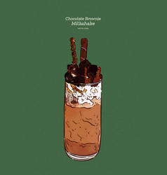 delicious chocolate milkshake hand draw sketch vector image