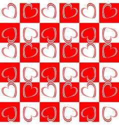 Design seamless red hearts pattern vector image