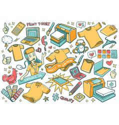 Digital print tees direct to garment doodles vector