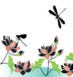 Dragonflies-and-flowers vector