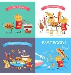 Fast food cartoon characters banner set vector