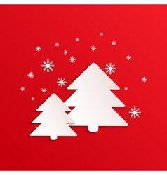 Fir card with paper shapes Winter vector image