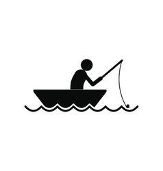 Fisherman in a boat icon vector