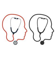 flat cartoon style stethoscope icon sign vector image