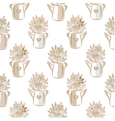 flowers in watering cans beige colors seamless vector image