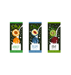 fruit milk labels set apricot plum kiwi natural vector image
