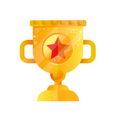 golden trophy cup with star on vector image