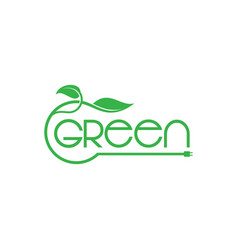green energy lettering logo concept vector image