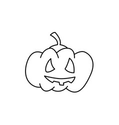 halloween pumpkin hand drawn line icon vector image