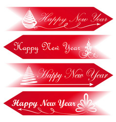 Happy new year road signs arrows message red vector