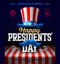 happy presidents day party poster design with vector image