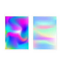 holographic gradient background set with hologram vector image