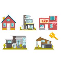 houses cartoon set vector image
