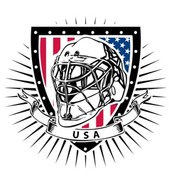 ice hockey helmet shield USA vector image