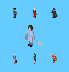 Isometric people set of guy officer housemaid vector