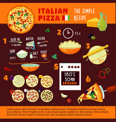 Italian pizza recipe infographic concept vector
