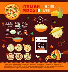 Italian pizza recipe infographic concept vector