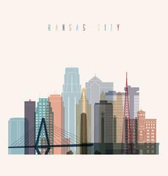 kansas city skyline silhouette vector image