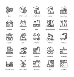 Line icons industrial and construction vector