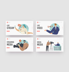 Live stream news landing page template set vector