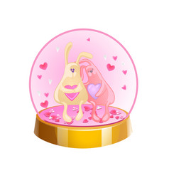 Magic crystal ball with two rabbits and small pink vector