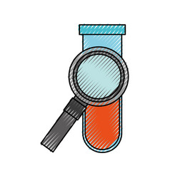 Magnifying glass with tube test vector